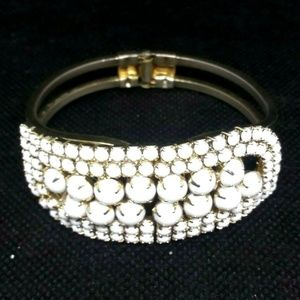 Clamper Bracelet Statement White Beads